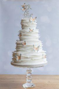 Butterfly Ruffle Wedding Cake