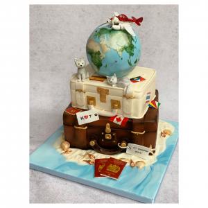 Around the World Themed Wedding Cake