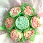 pink and green birthday bouquet