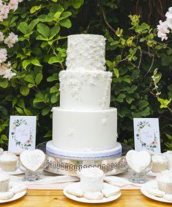 silver lace dress cake