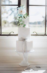 Elegant White and Blue Lace Wedding Cake