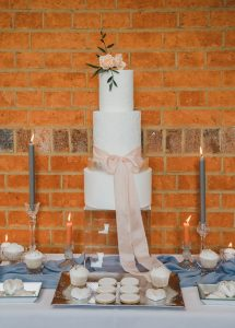 Wedding Cake from Styled Shoot Wellingtonia, modern and elegant with dusty pinks, blues and silver